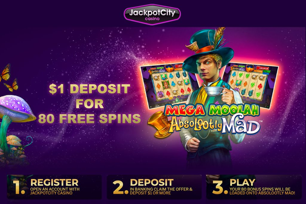 Deposit 1 get 80 Free Spins Jackpot City